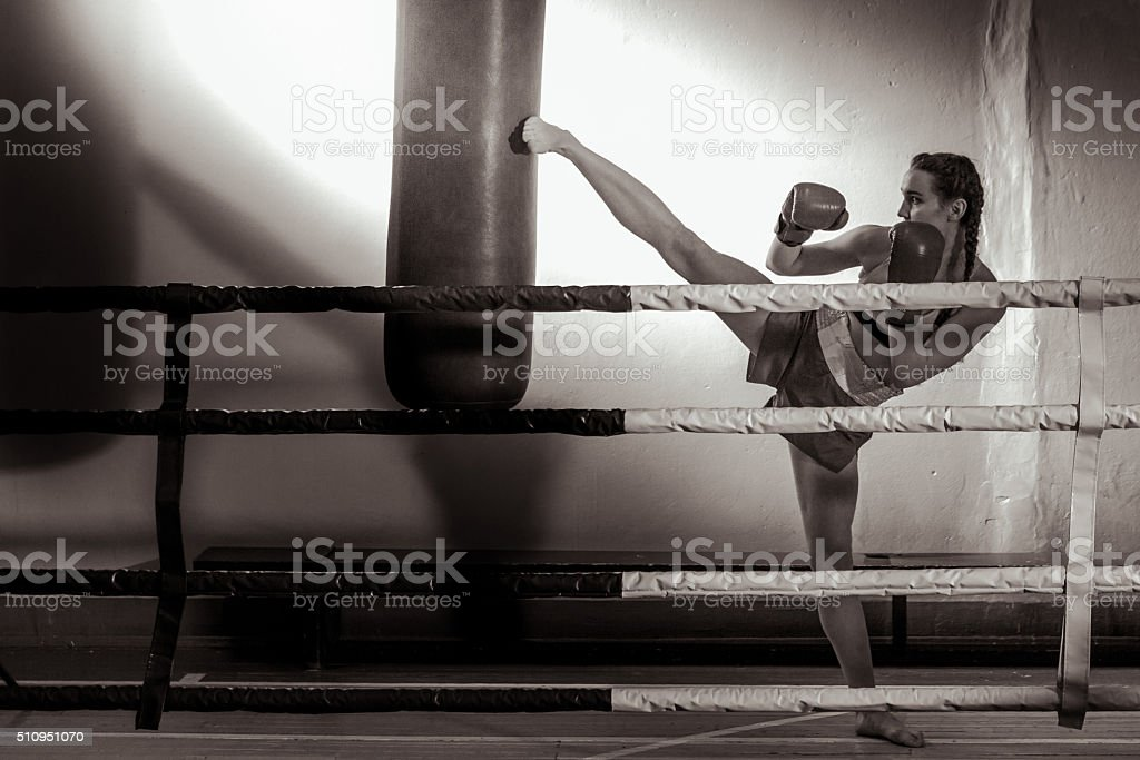 Girl Kickboxer In Training stock photo