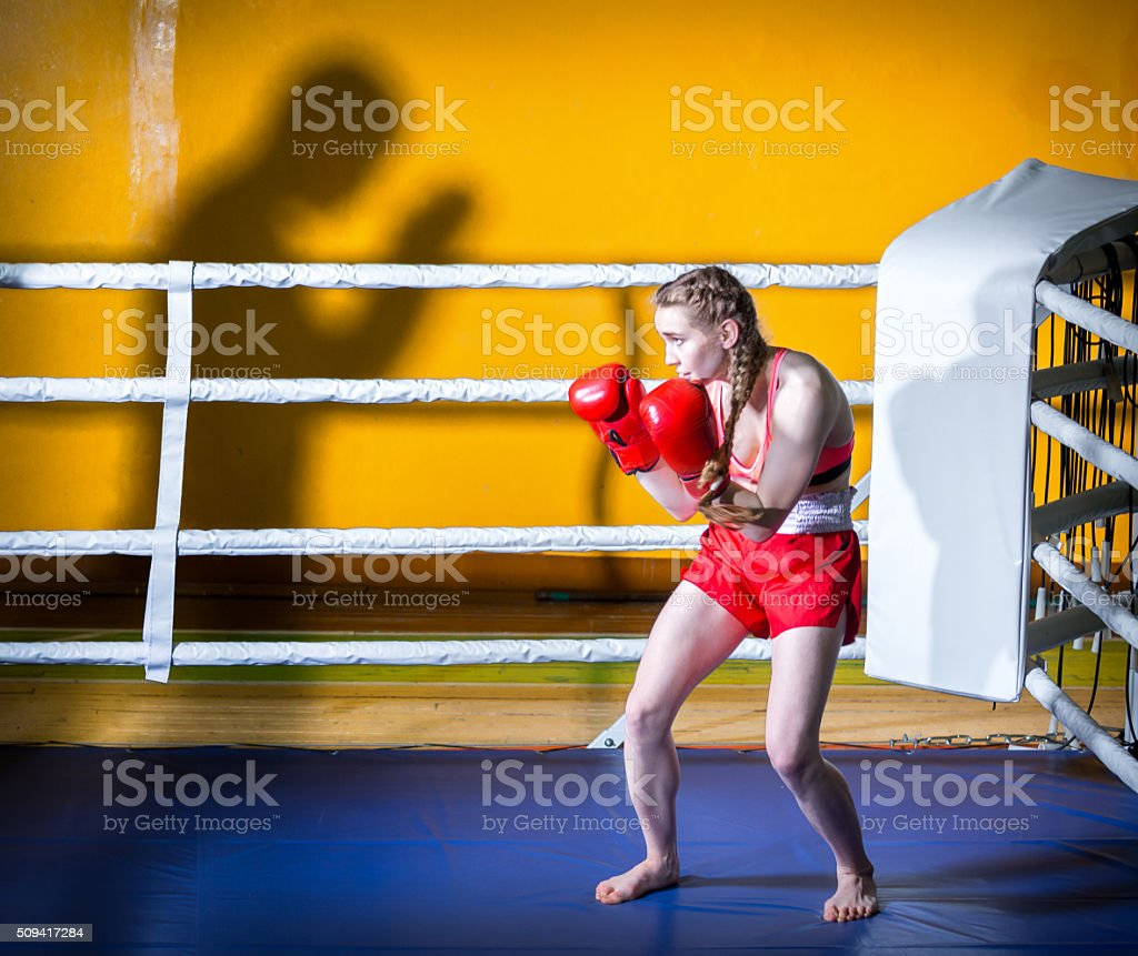 Girl Kickboxer stock photo