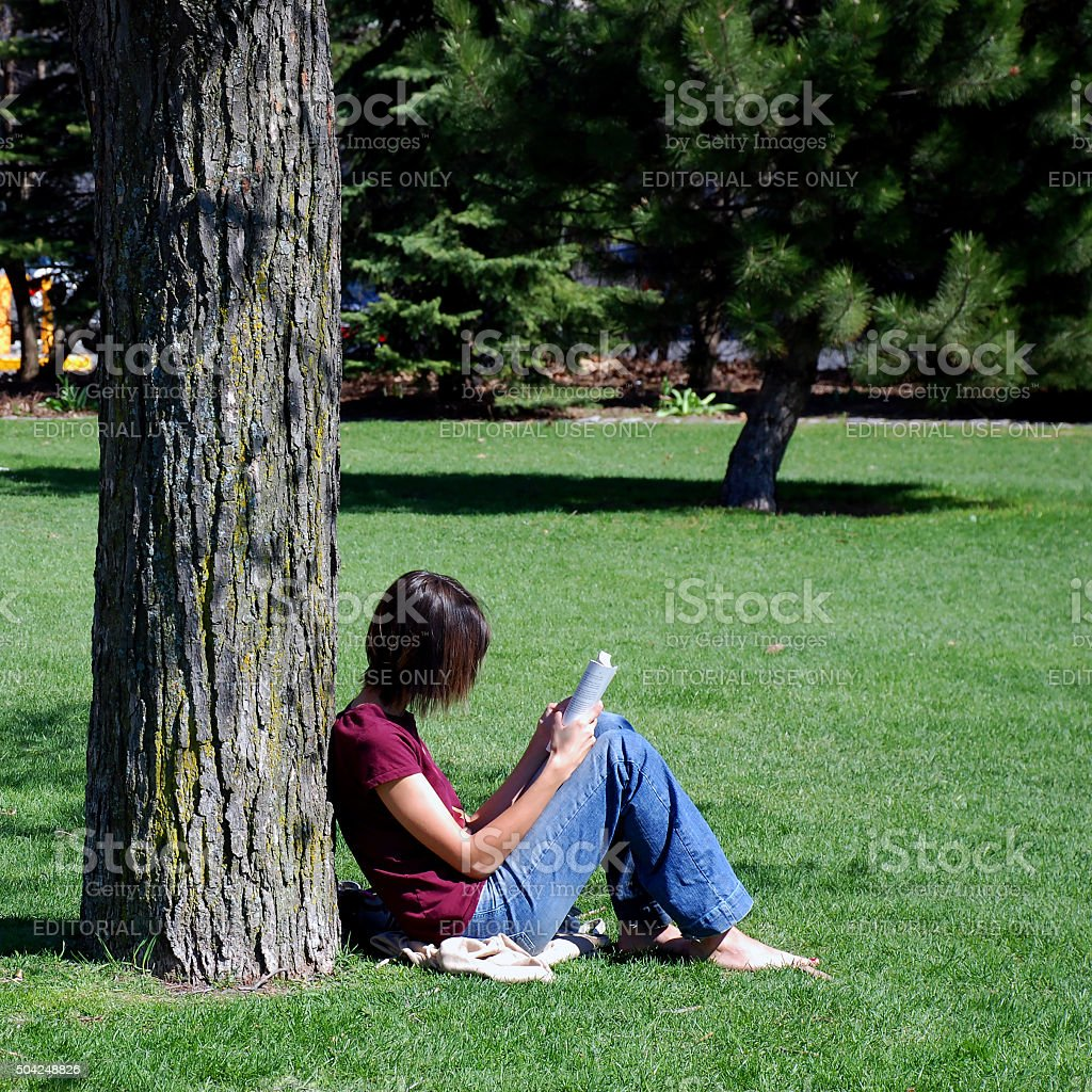 Girl leaning on tree reading a book stock photo