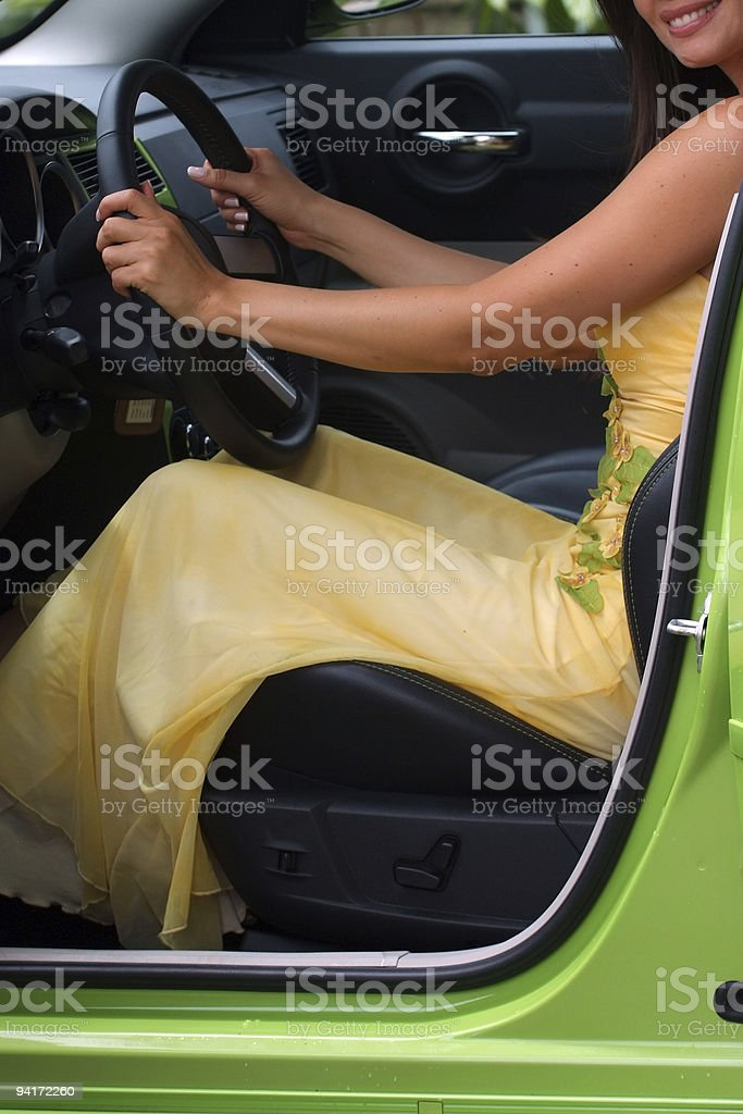 Girl learning how to drive royalty-free stock photo