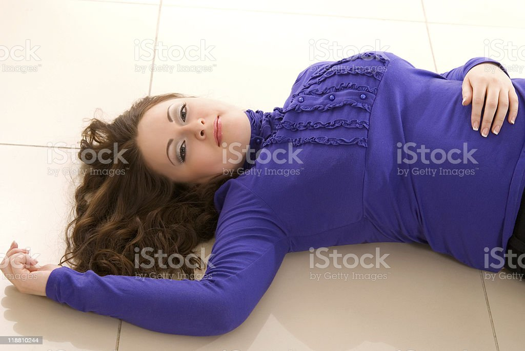 girl lies royalty-free stock photo