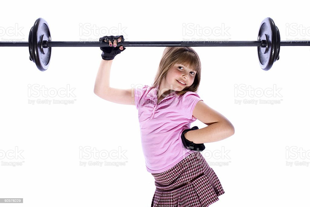 Girl Lifting Weights 2 stock photo