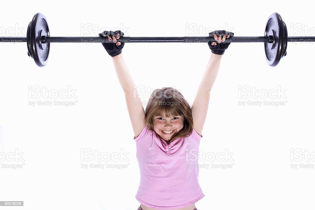 Girl Lifting Weights 4 royalty-free stock photo