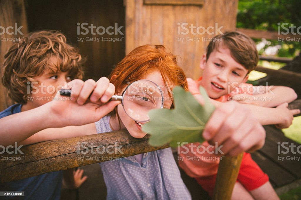 Girl looking at a leaf with magnifying glass with friends stock photo
