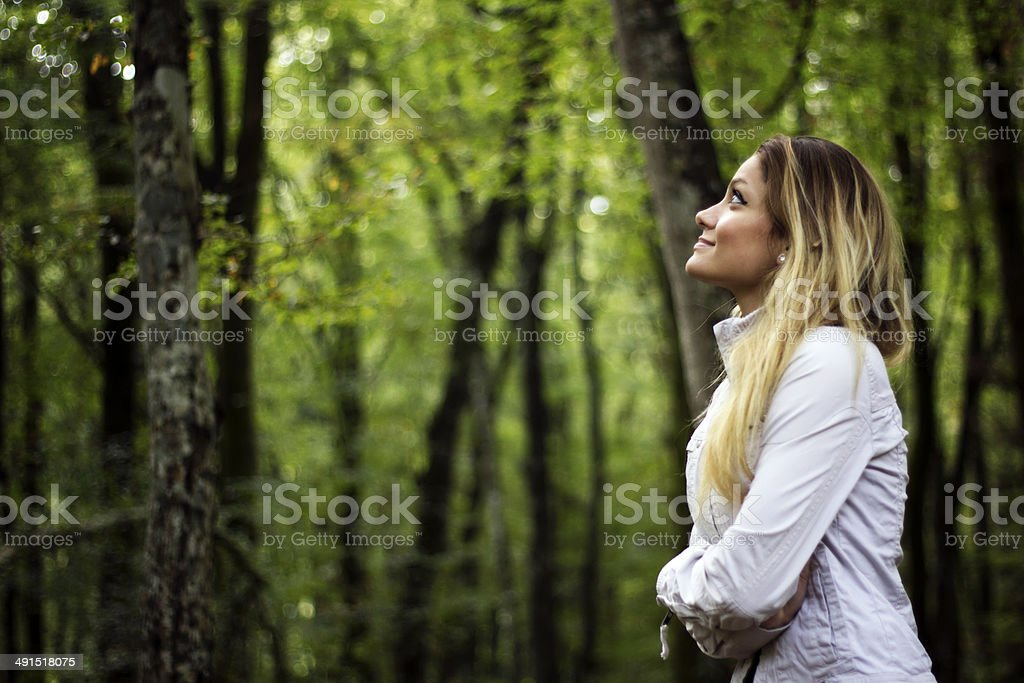Girl Looking at The Sky stock photo