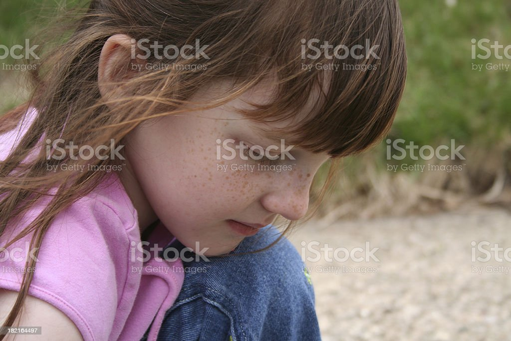 Girl Looking Down royalty-free stock photo