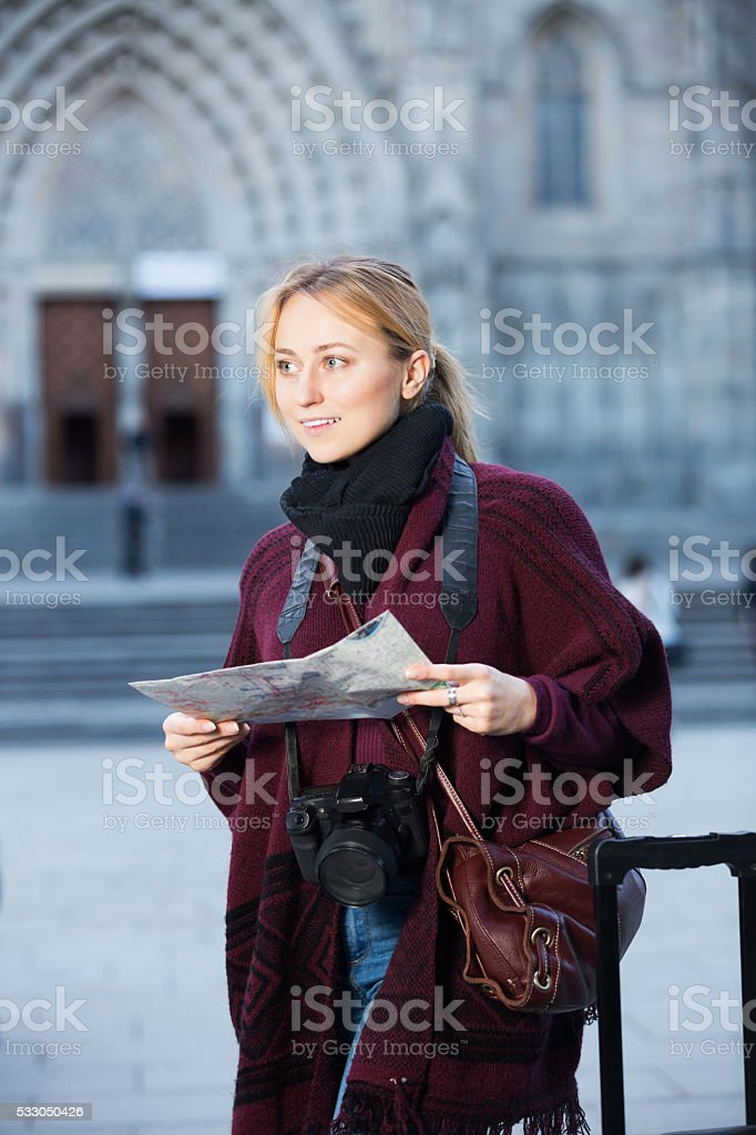 Girl looking for her route stock photo