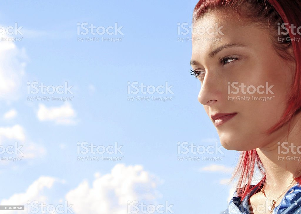 Girl looking in future royalty-free stock photo