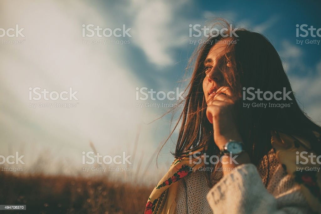 Girl looking into the future stock photo