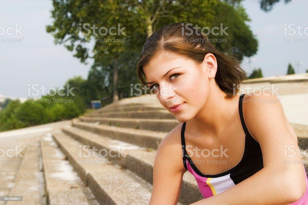 Girl looking onward stock photo