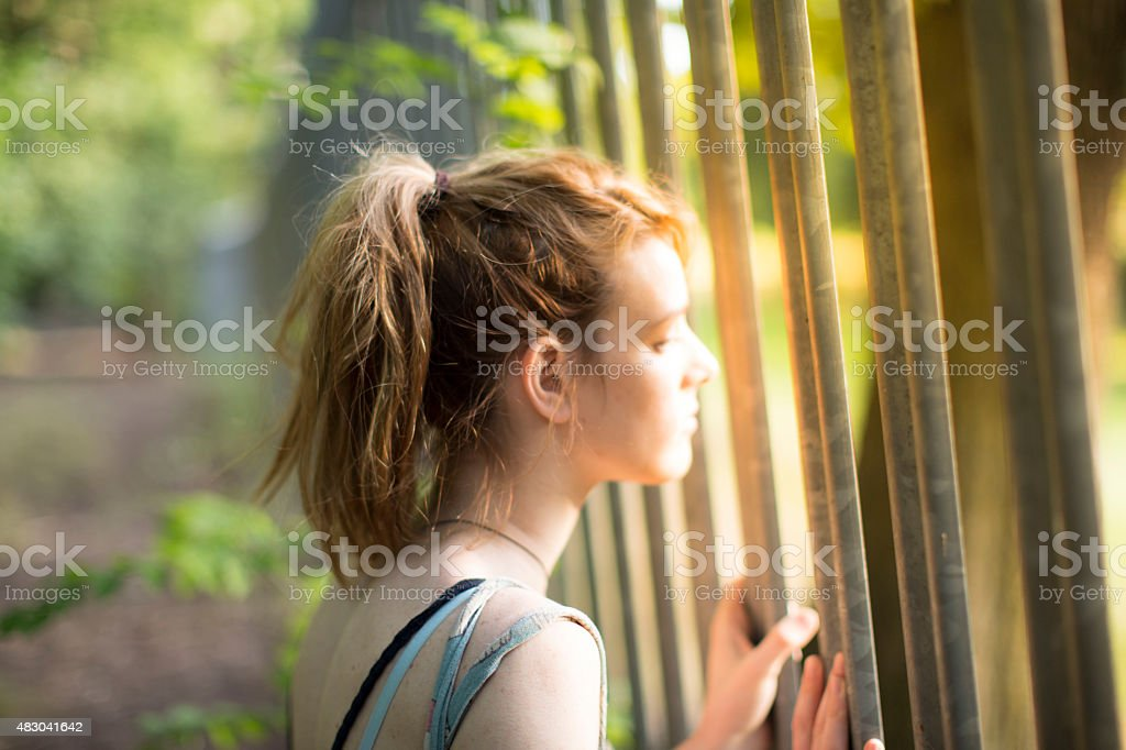 Girl looking through a fence stock photo