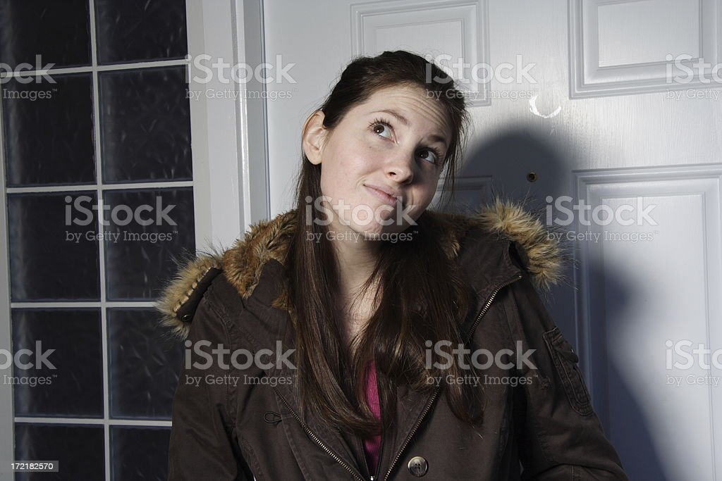 girl looking up stock photo
