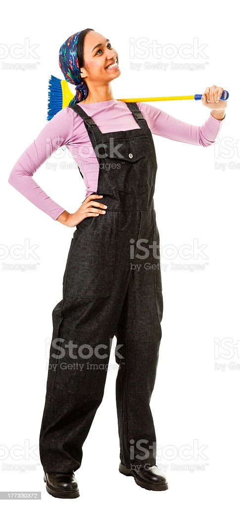 girl looks ready to help with the dusting royalty-free stock photo