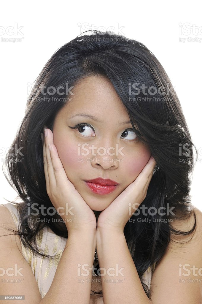 Girl looks sideways royalty-free stock photo