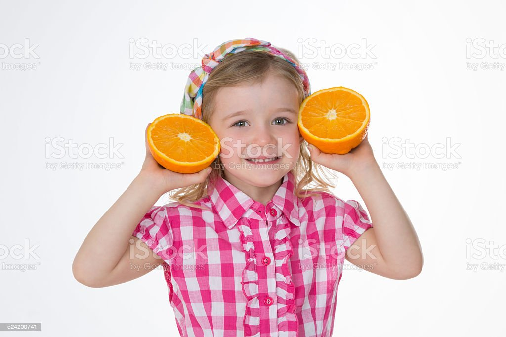 girl loves summer fruits stock photo
