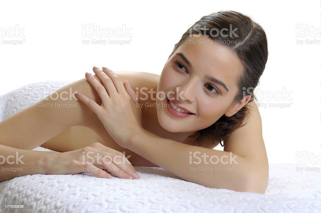 Girl lying before massage royalty-free stock photo