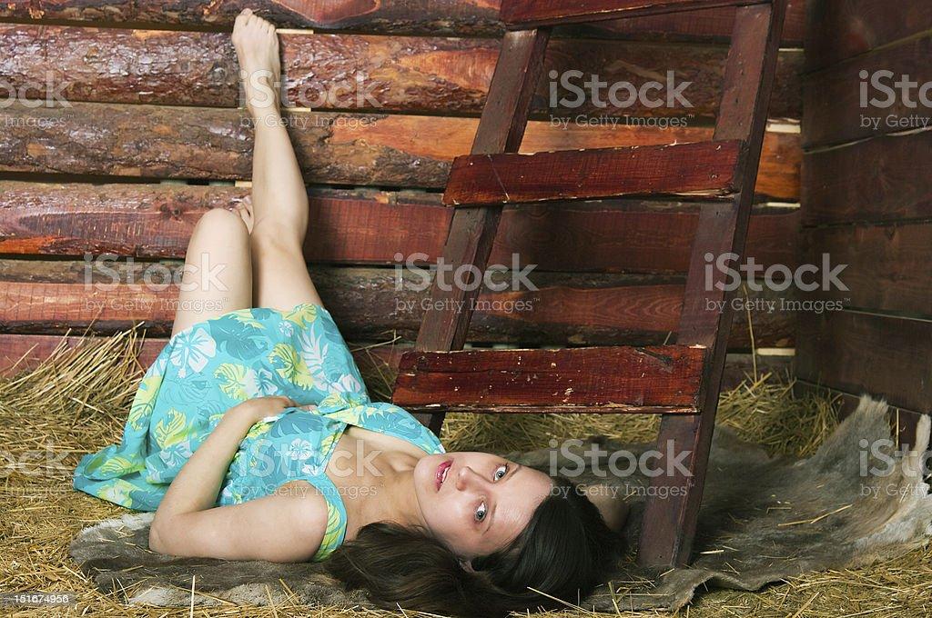 girl lying on hay royalty-free stock photo