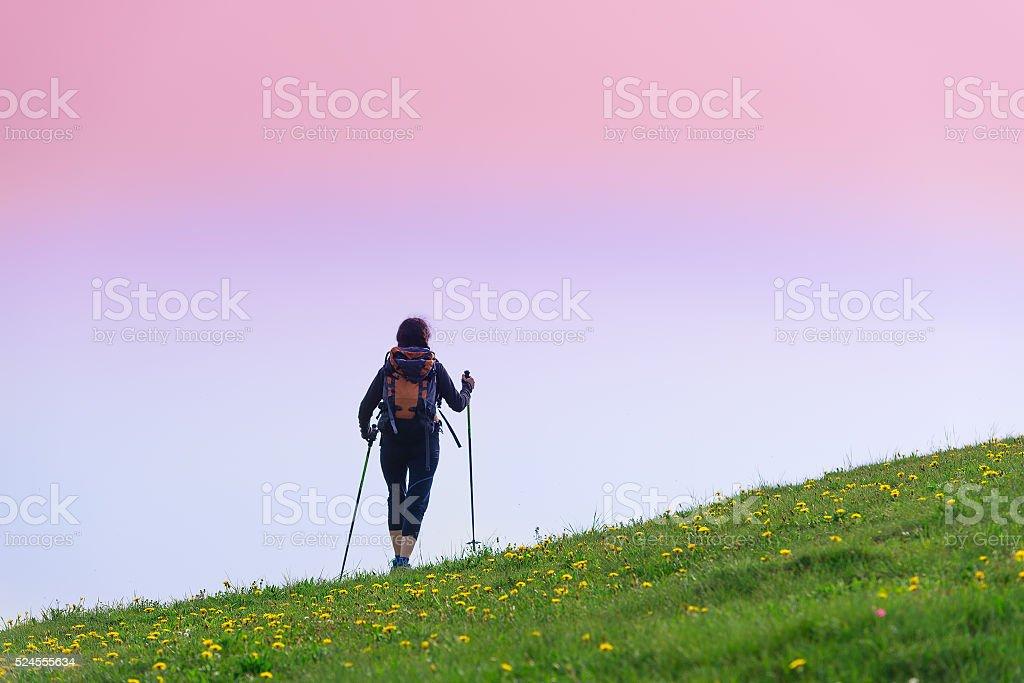 Girl makes trekking alone stock photo
