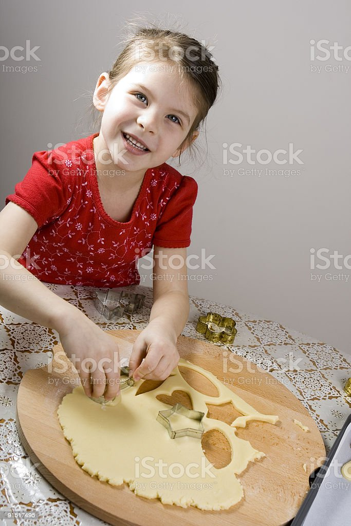 girl making cookies royalty-free stock photo