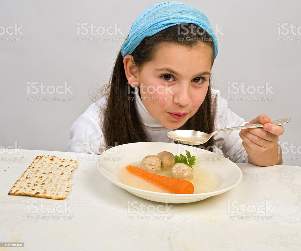 girl matzo ball soup royalty-free stock photo
