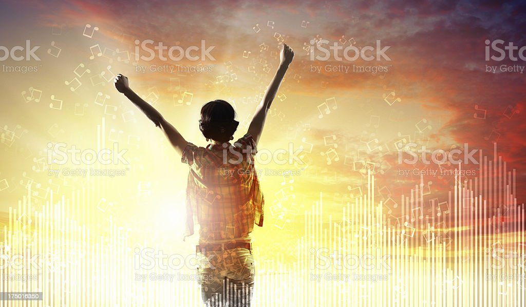 Girl meets backlit dawn royalty-free stock photo