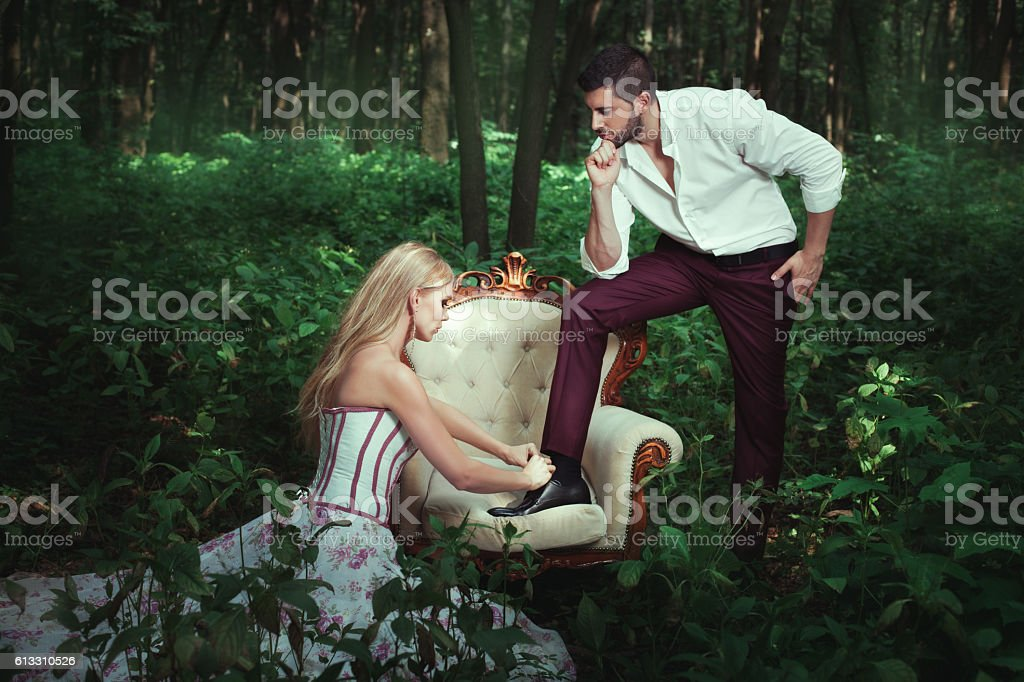 Girl ministered to the man. stock photo