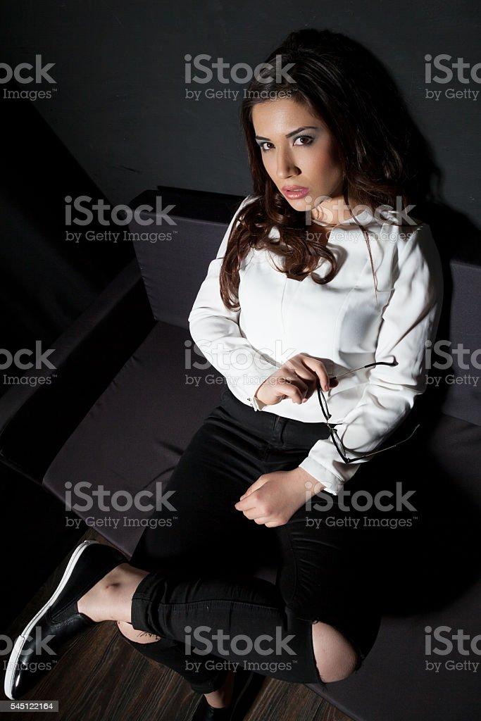 girl model posing in the Studio on a black background stock photo