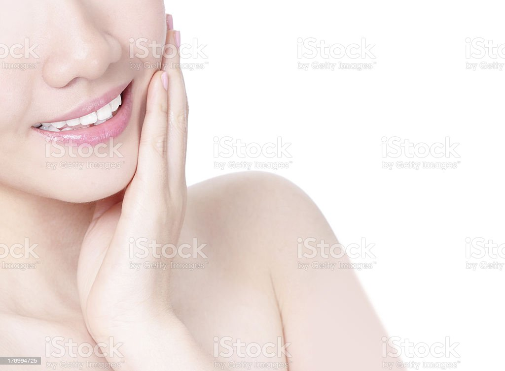 girl mouth closeup with smile and hand touch face royalty-free stock photo