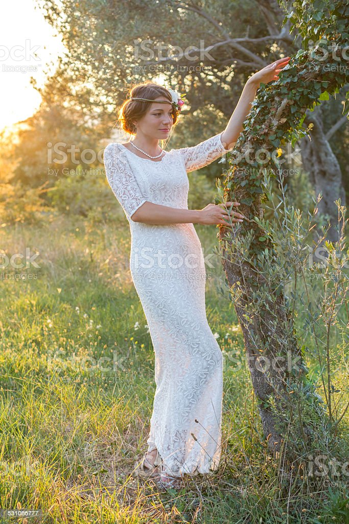 girl near a tree at sunset stock photo