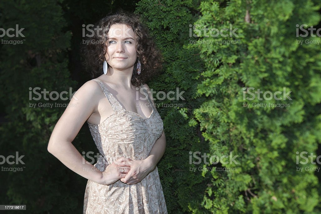 Girl near the tree. royalty-free stock photo