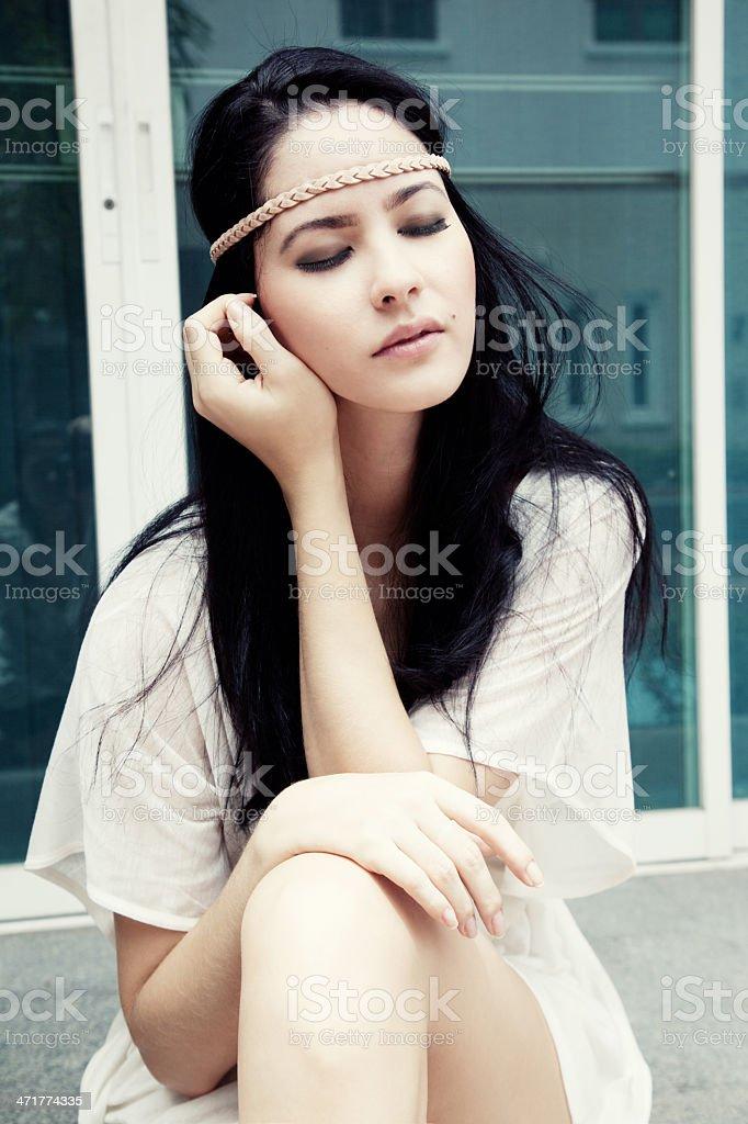 Girl near the window royalty-free stock photo
