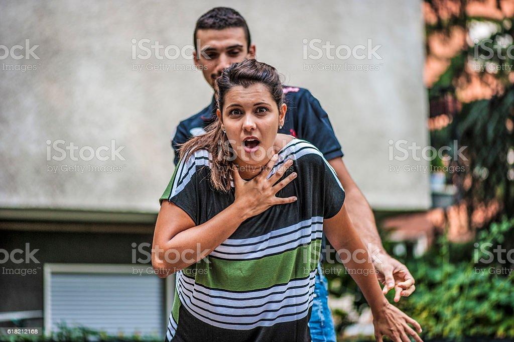Girl needing help stock photo