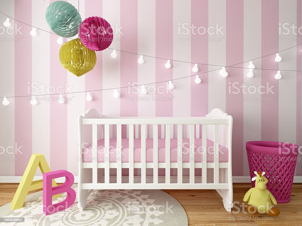 girl nursery room stock photo