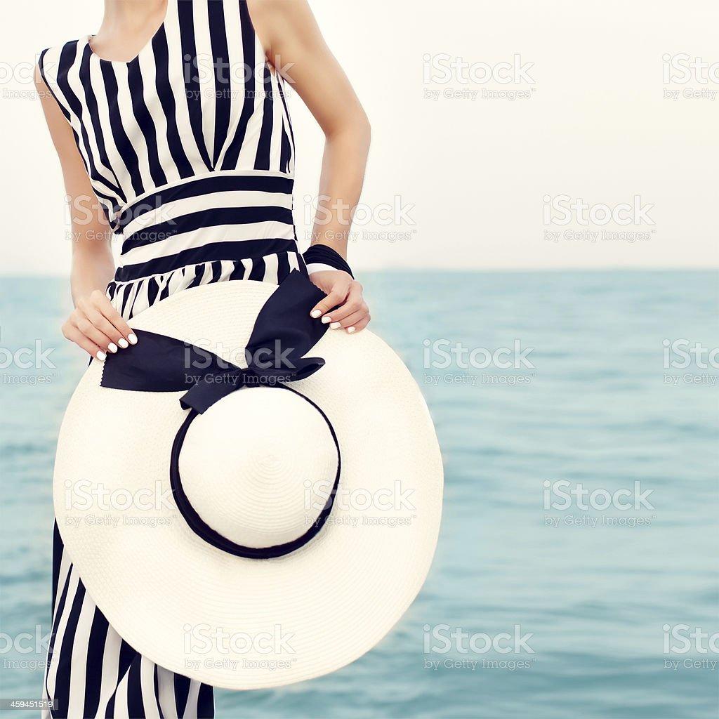 girl on a beach holiday stock photo