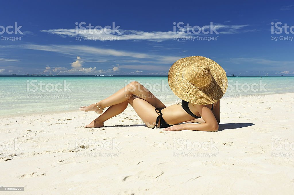 Girl on a beach royalty-free stock photo