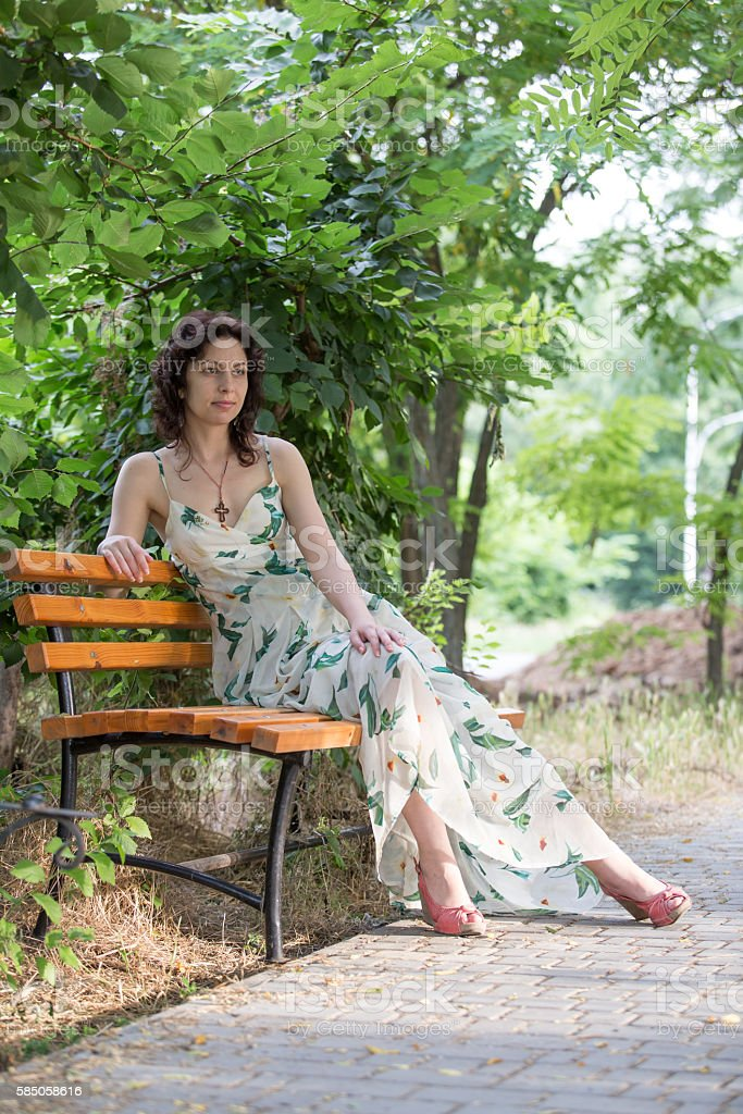 girl on a bench royalty-free stock photo