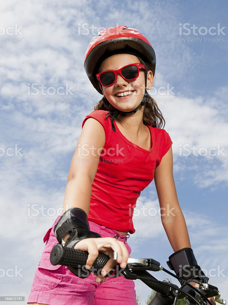 girl on a bicycle royalty-free stock photo