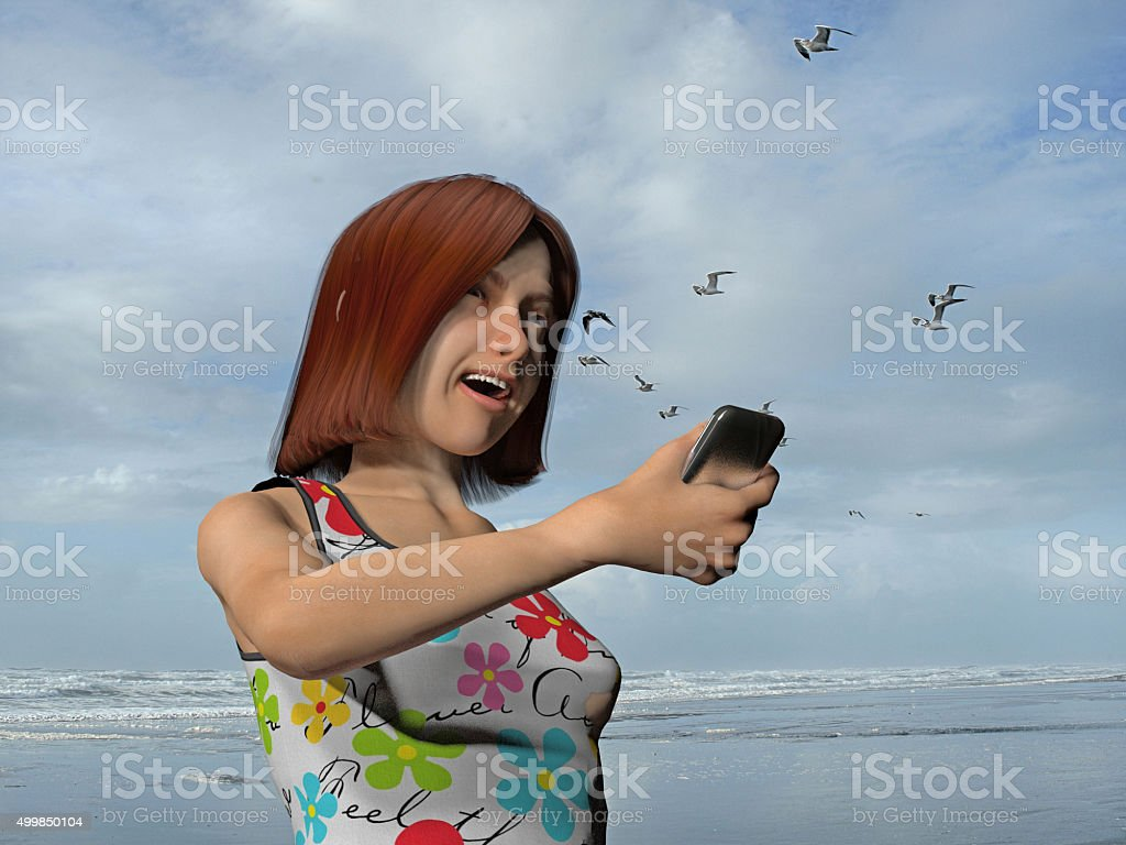 girl on a cell phone stock photo