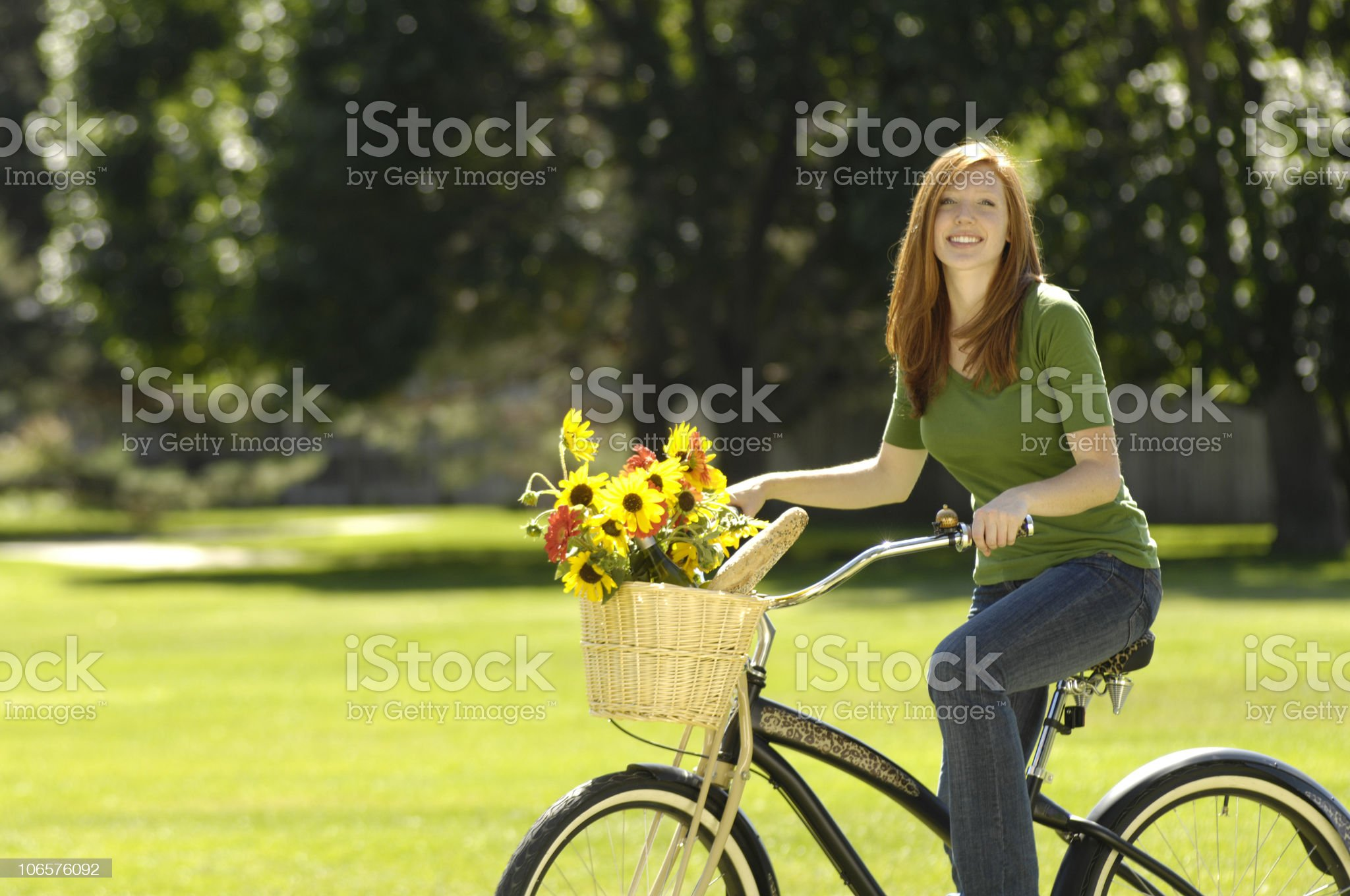 Girl on a Cruiser Bicycle royalty-free stock photo