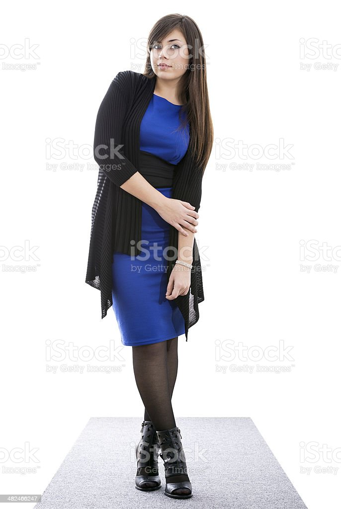 Girl on a gray carpet stock photo