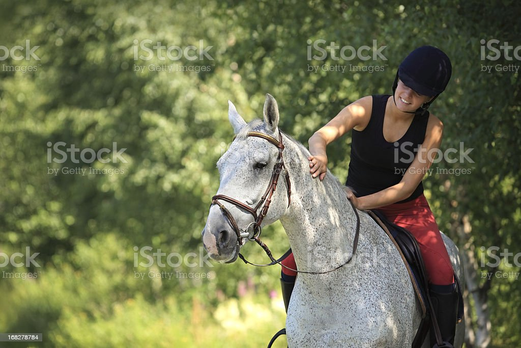 A girl on a gray horse in the forest in Norway stock photo