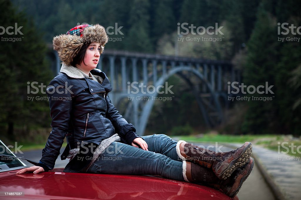 Girl on a Road Trip in the Pacific Northwest royalty-free stock photo