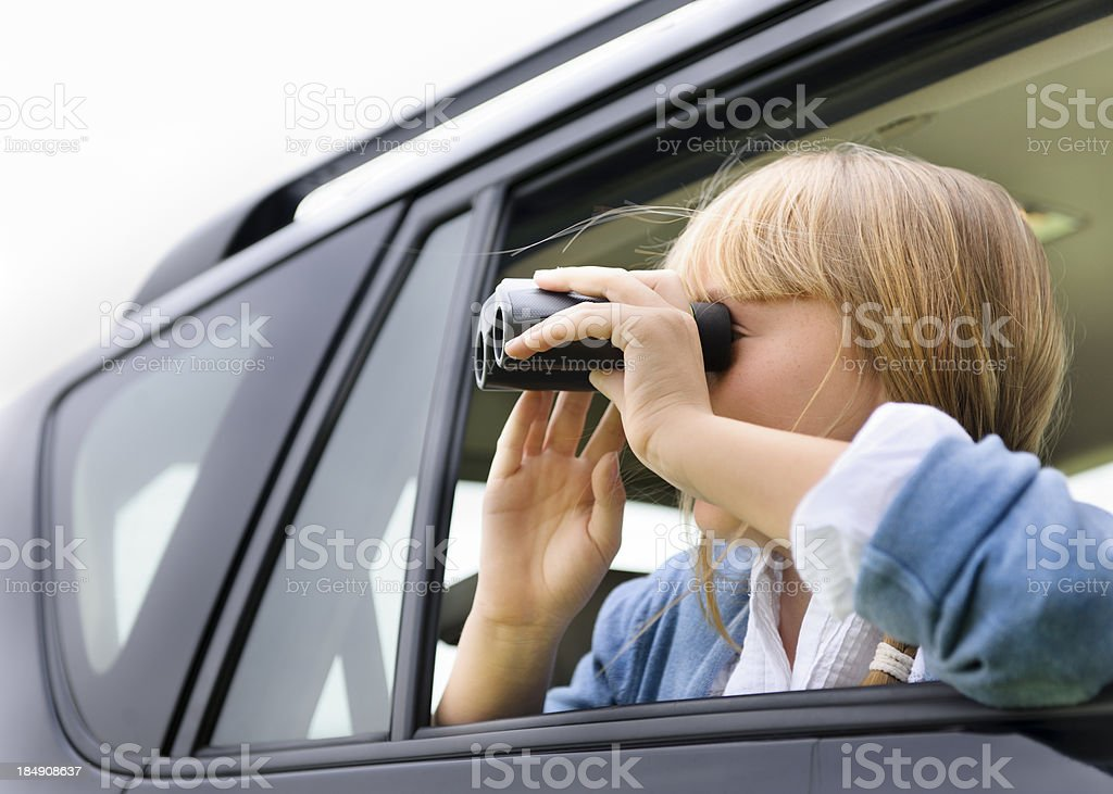 Girl on a road trip stock photo
