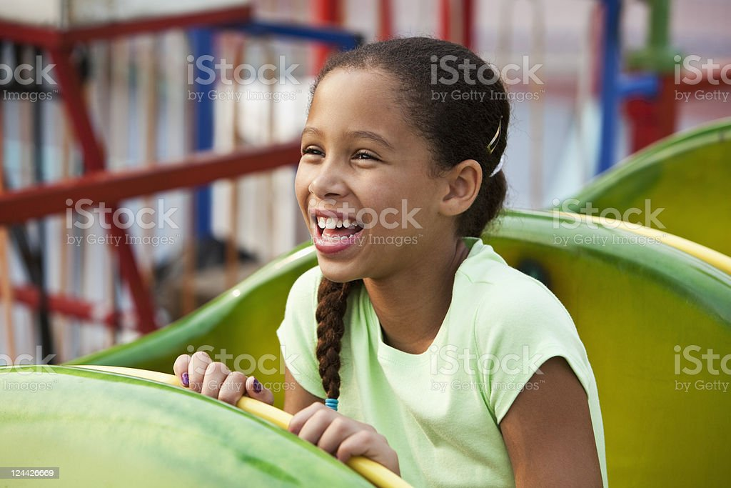Girl on a roller coaster royalty-free stock photo