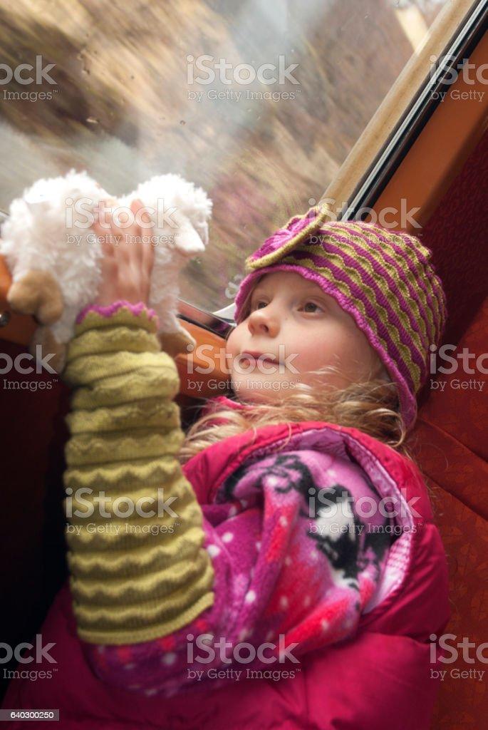 Girl on a train stock photo