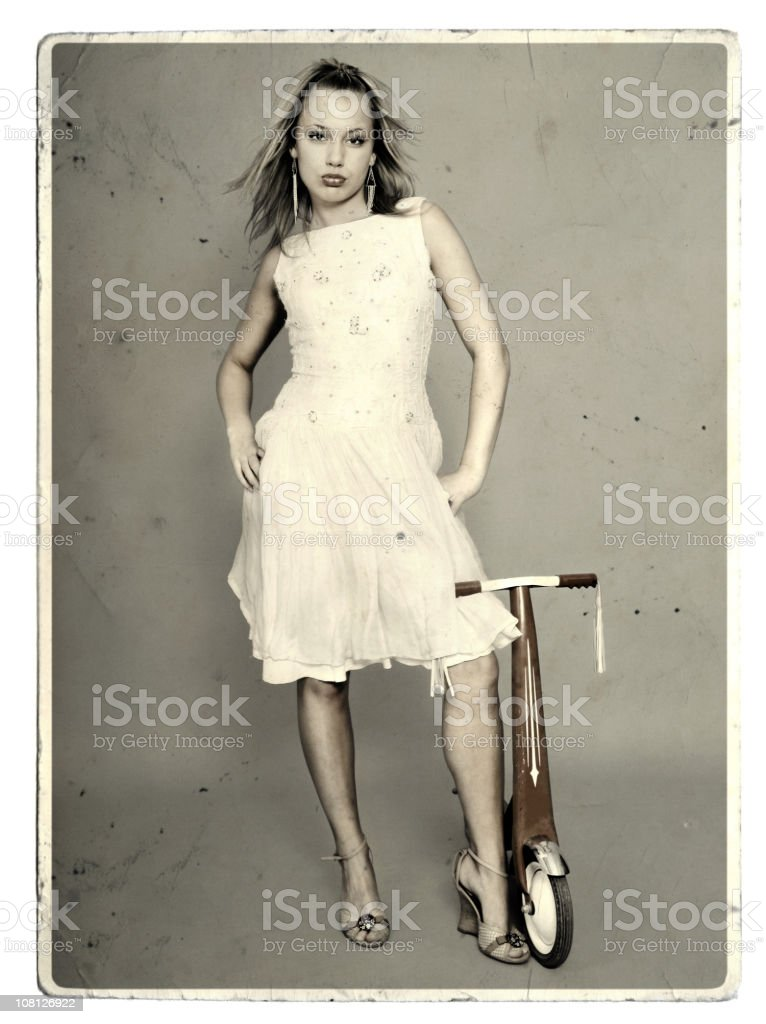 Girl on a vintage card stock photo