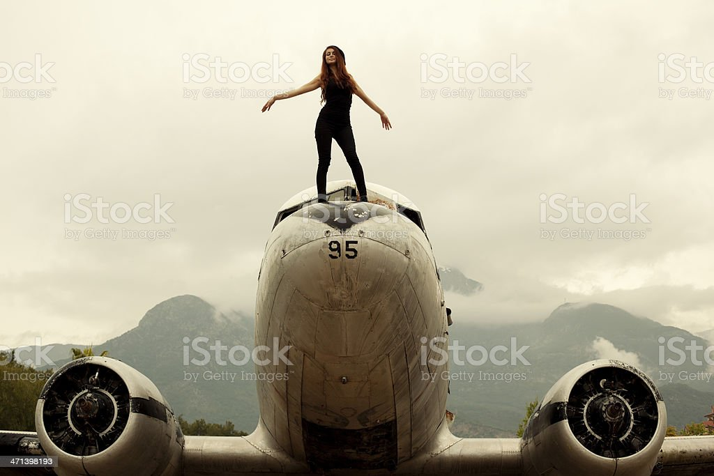 Girl on airplane royalty-free stock photo
