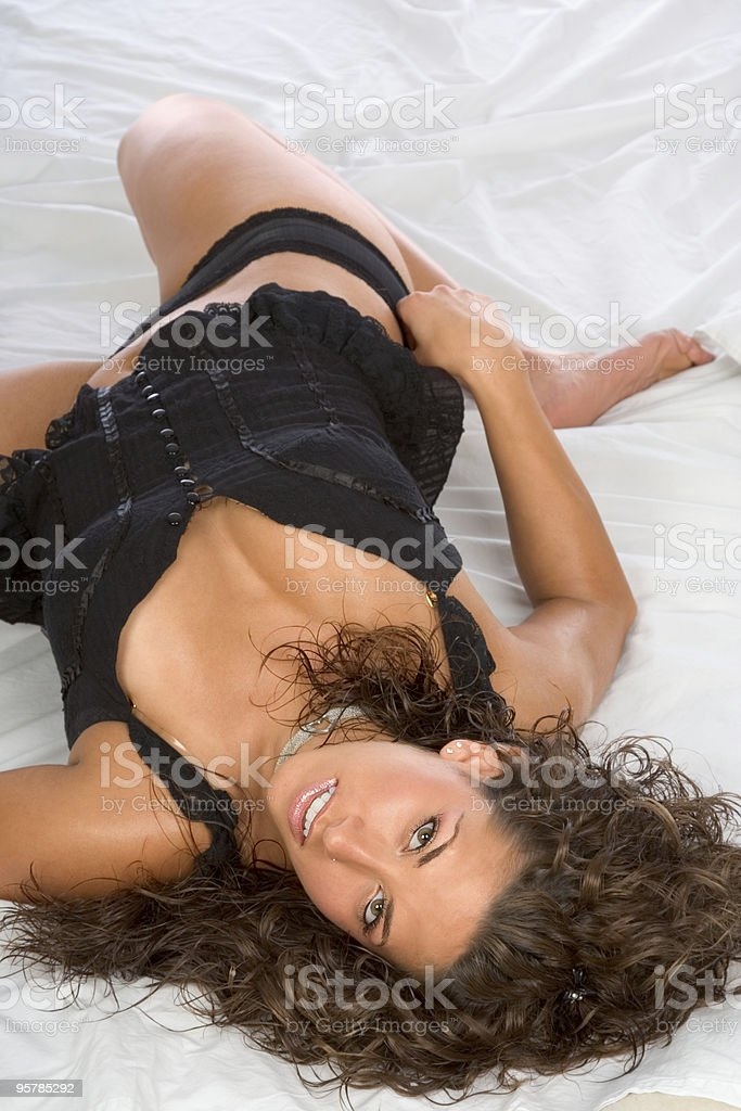 Girl on bed royalty-free stock photo