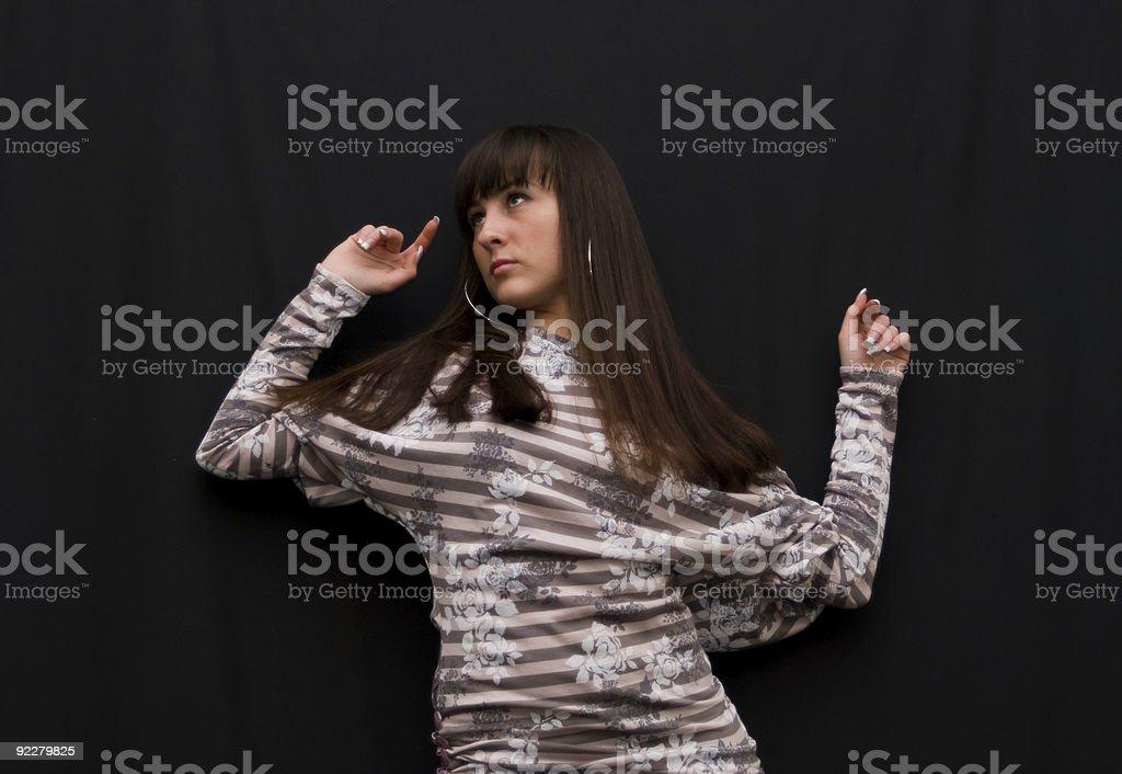 girl on black background royalty-free stock photo
