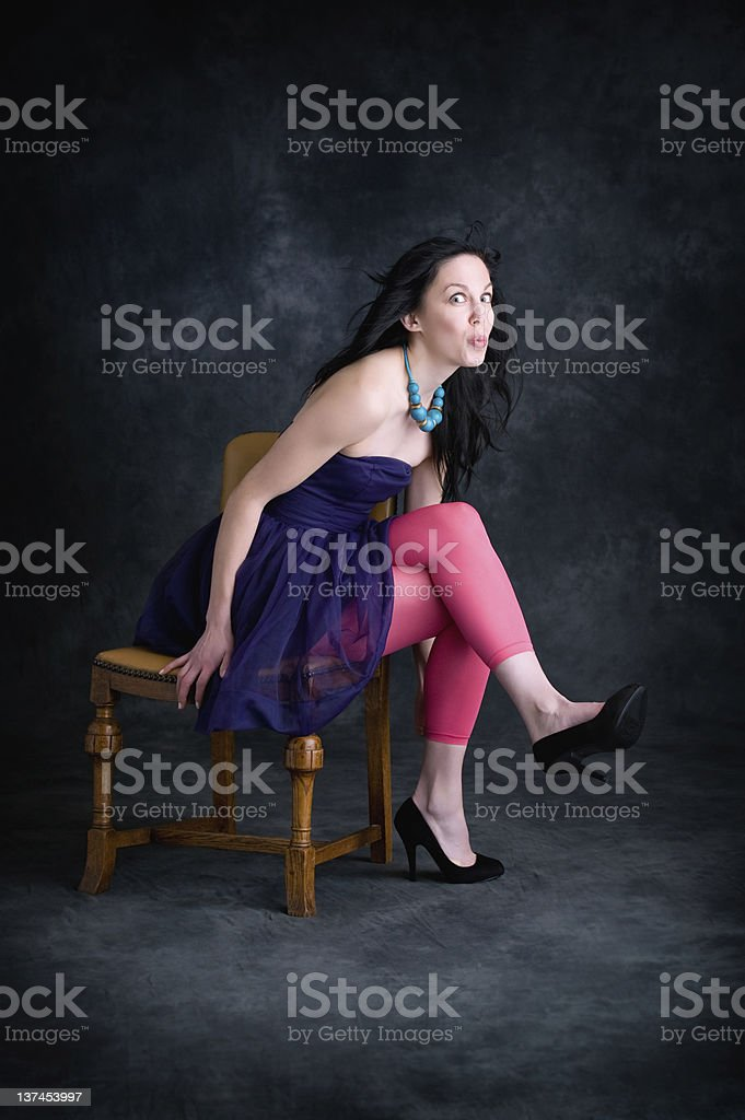 Girl on Chair stock photo